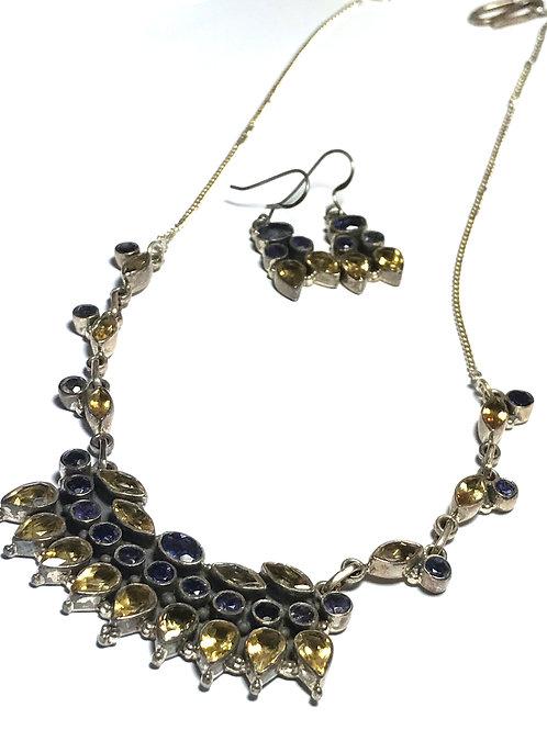 Solid Iolite and Citrine Gemstone Necklace