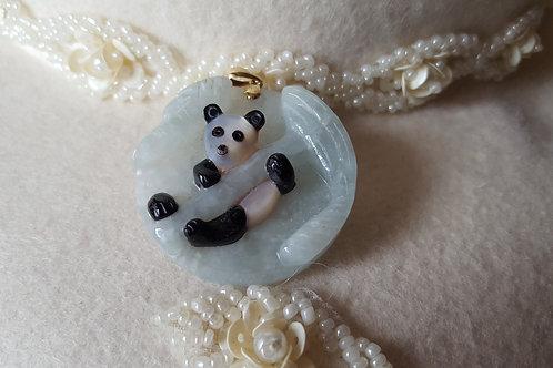 Vintage 3-D Jade Panda Pendant 14k Bale