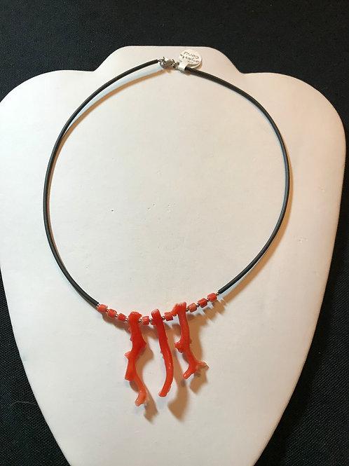 Vintage Angel Skin Coral Necklace on Black Cord