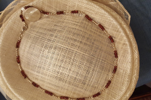 """18"""" Garnet and Silver Necklace"""