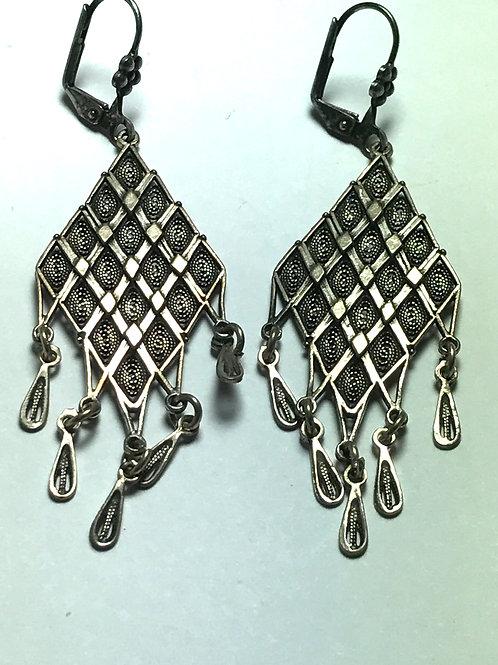 Hand Made Sterling Silver Filigree Dangle Earrings