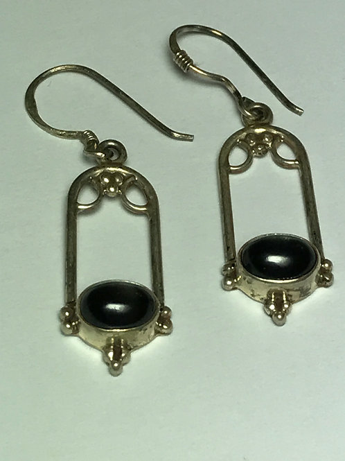 Black Star Sapphire Sterling Silver Earrings