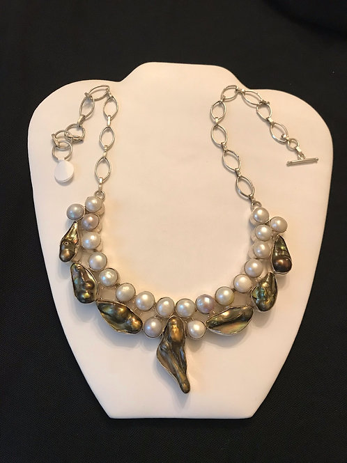 Mobe & Blister Pearl Runway Heavy Silver Necklace