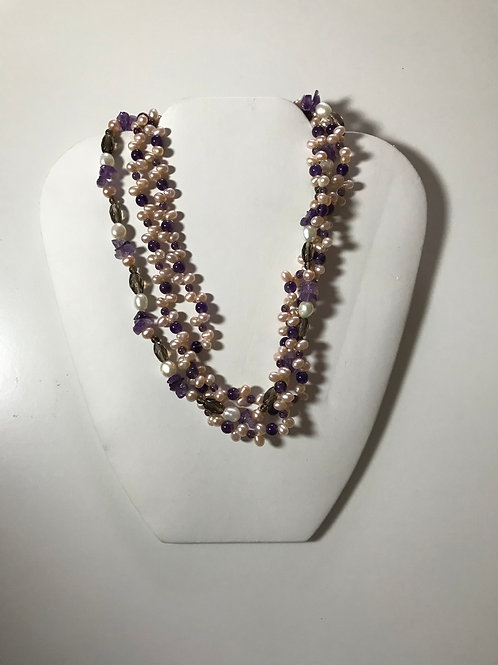 3 Strand Purple Amethyst, Pearl and Crystal Necklace