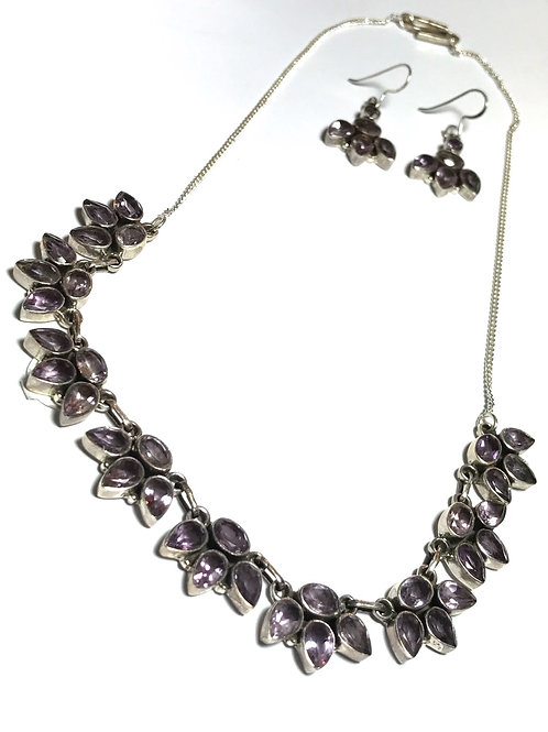 Lovely Multishaped Amethyst Necklace with Matching Earrings
