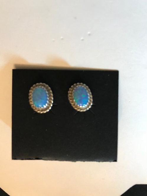 Navajo Opal Silver Earrings