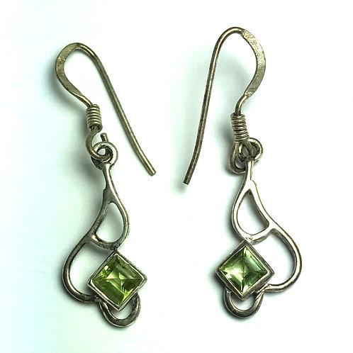 Peridot Earring In Conch Seashell Shape Sterling Silver Earrings
