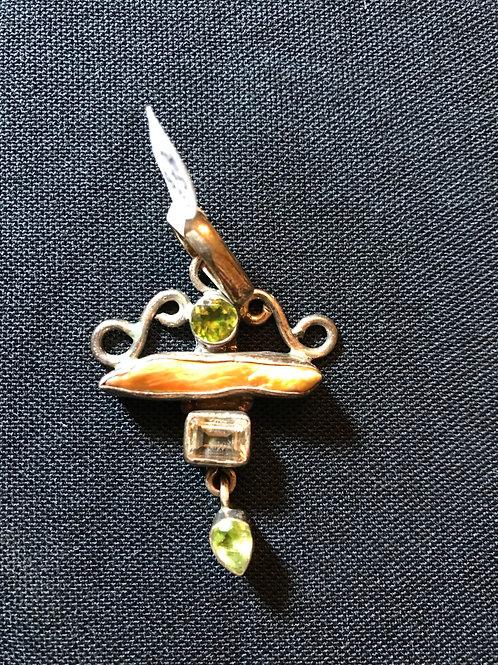 Peridot Citrine & Biwa Silver Pendant