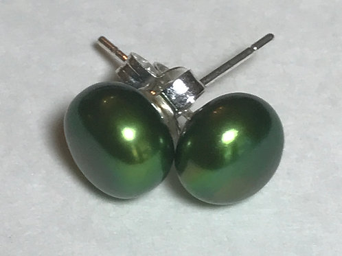 8-8.5mm Beautiful Sage Green Cultured Freshwater Pearl Stud Earrings