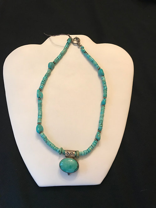 Tibetian Turquoise Silver Necklace