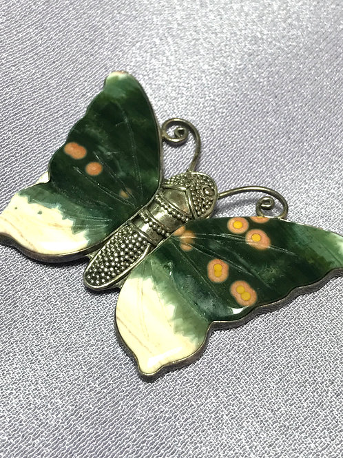 Hand Made, Unique Ocean Jasper Butterfly Silver Pendant