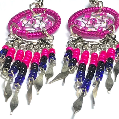 Multi-Color American Indian style Dream Catcher Earrings