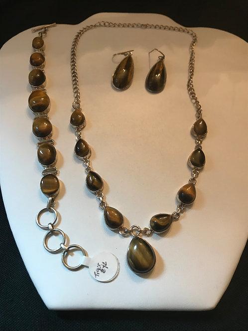 Tigers Eye Necklace Bracelet Earrings Silver Set