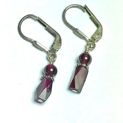 Fancy Faceted Garnet Bead Sterling Silver Earrings