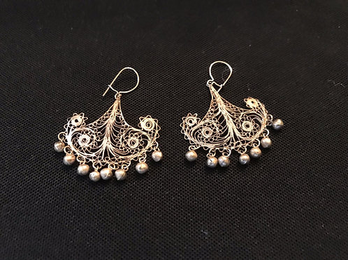 Vintage Filigree Silver Fan Earrings with Dangly Balls