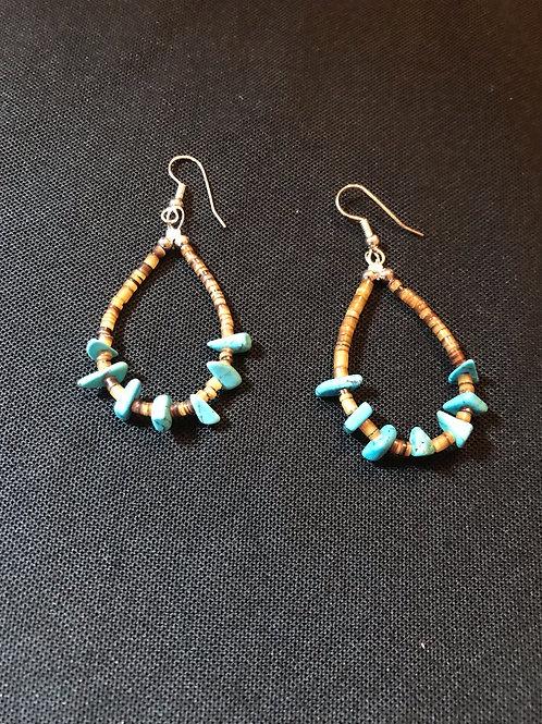 Genuine American Indian Turquoise & Heshi Earrings