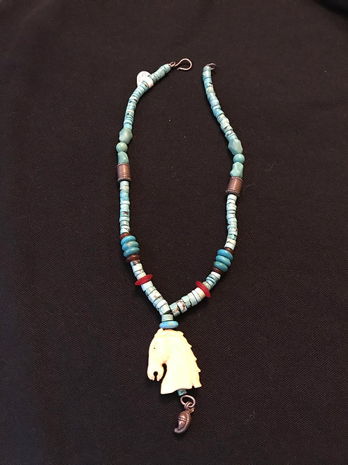 Turquoise Coral & Bone Horse Head Necklace