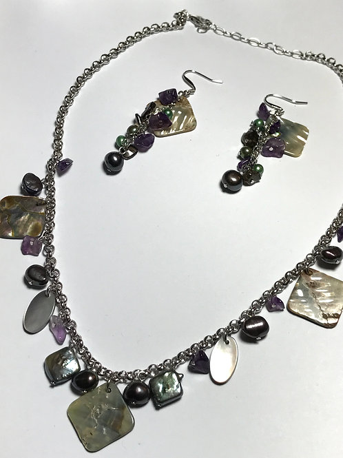 Peacock Black Freshwater Pearl, Abalone and Amethyst Nugget Set