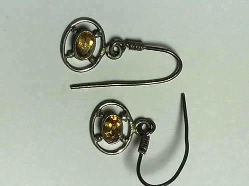 Citrine Gemstone and Sterling Silver Dangly Earrings
