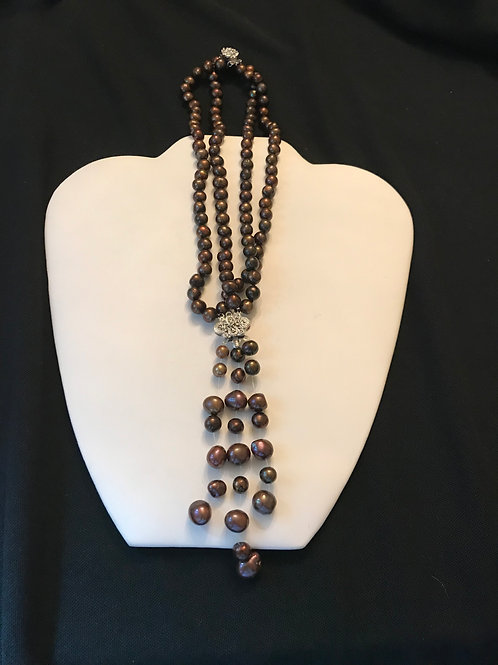 2 Stand Brown Copper Pearls Converts to Bracelet