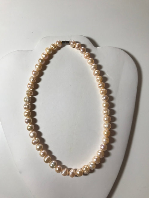Peach colored Freshwater Pearls Magnetic Clasp