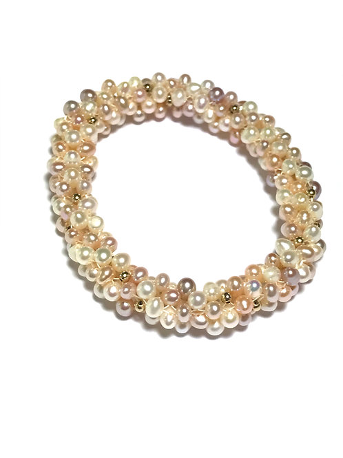 Rope Style Pastel Cultured Freshwater Pearl  Stretch Bracelet