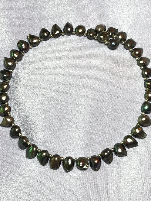 Half Round Peacock Black Freshwater Pearl Choker Necklace
