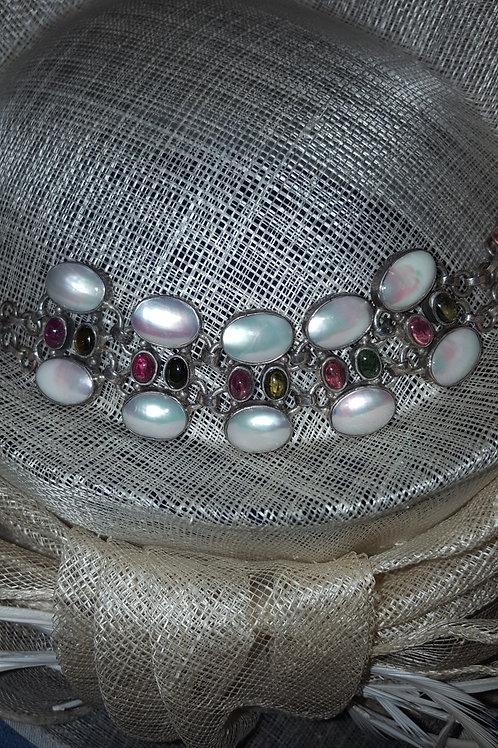 Tourmaline Gemstone, Nautlilus Shell and Sterling Silver Adjustable Bracelet