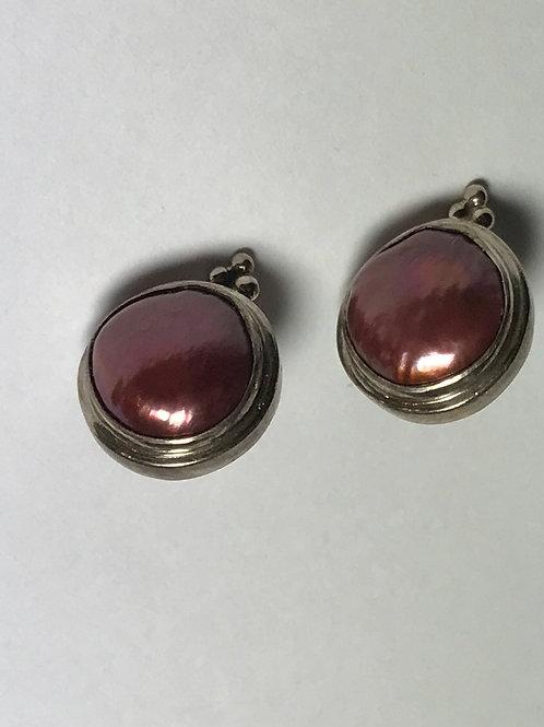 Deep Reddish Purple Peal Earring Sterling Silver Post Earring