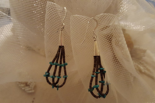 American Indian Turquoise and Heshie Earrings