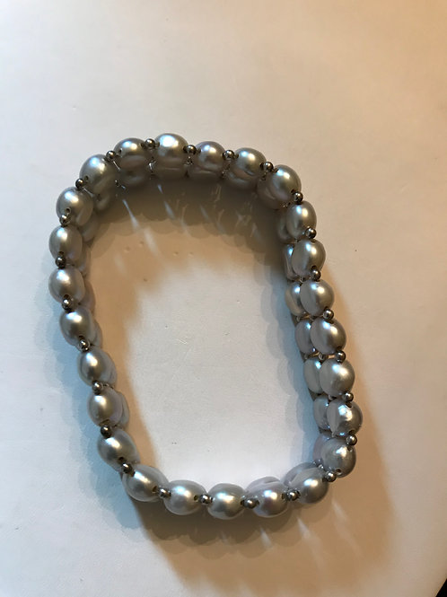 Light Grey Two Row Freshwater Pearl Bracelet