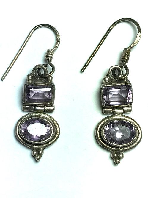 2 Stone Amethyst set in Sterling Silver Earrings