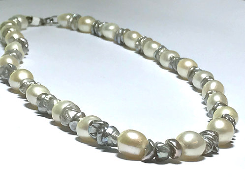 White and Grey Pearl Necklace