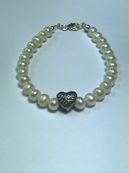 "White Pearl Bracelet with Silver ""Mom"" Charm"
