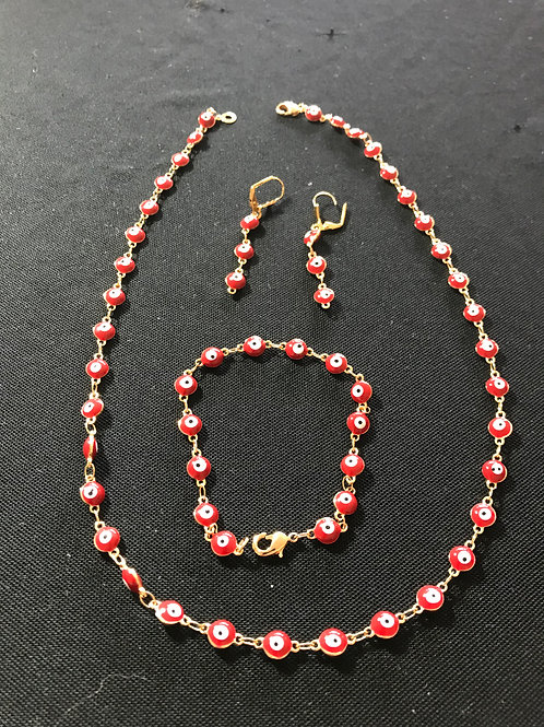 Red Enamel Amulet Necklace Bracelet Earring Set