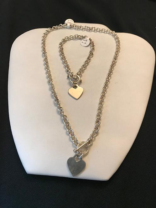 Silver Link Chain Heart Bracelet & Necklace Set