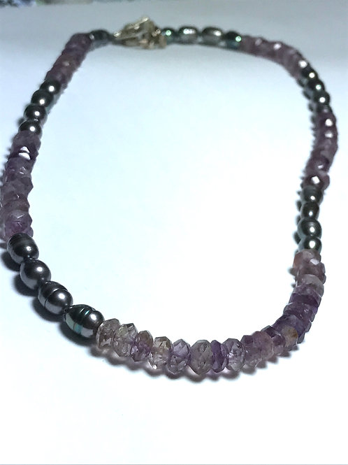 Rice Shape Black Peacock Pearl & Amethyst Necklace