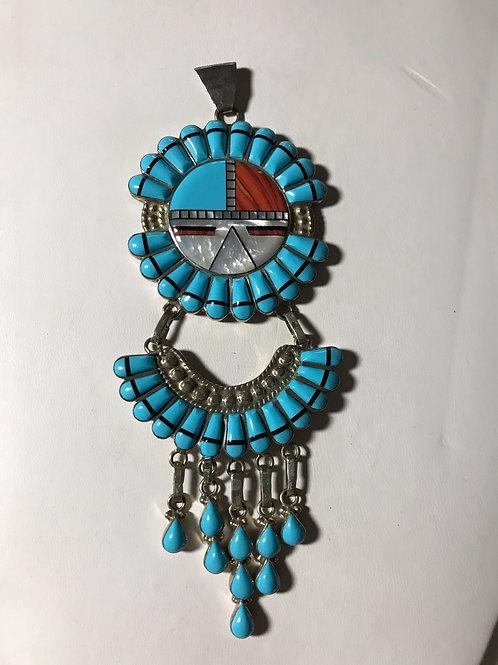 Huge Zuni Inlay Sunface Turquoise Pendant