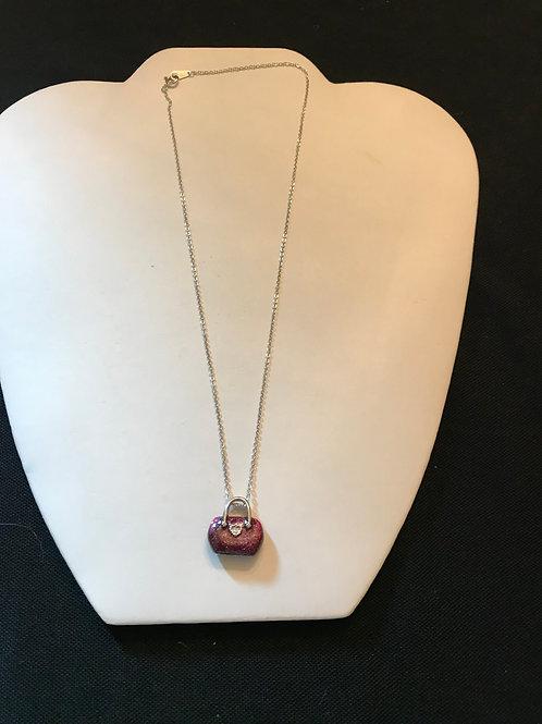 Purple Enamel Handbag with Crystal Pendant on Silver Chain