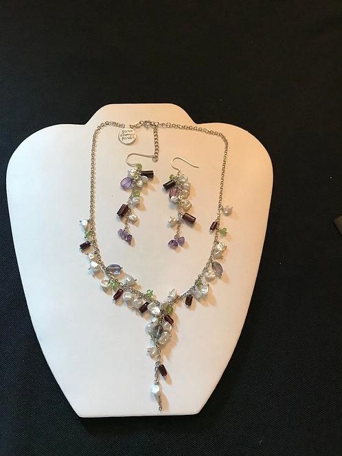 Garnet Pearl Amethyst Peridot Necklace and Earring Set