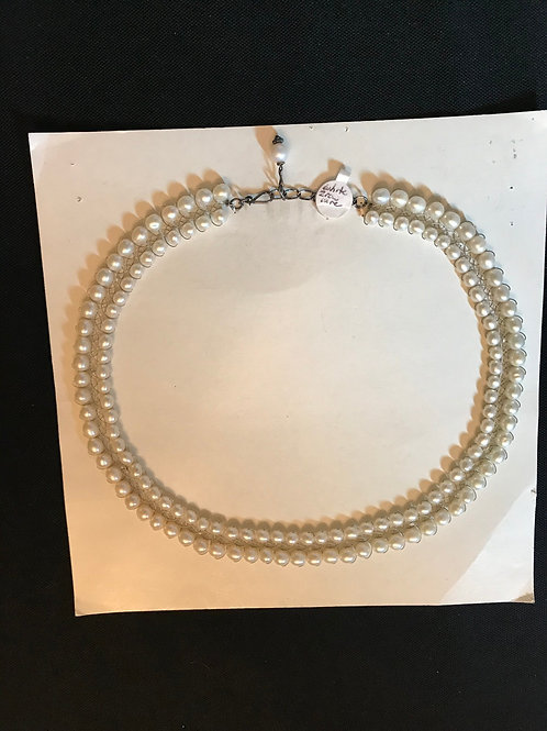 White Two Pearl Row Wire Necklace