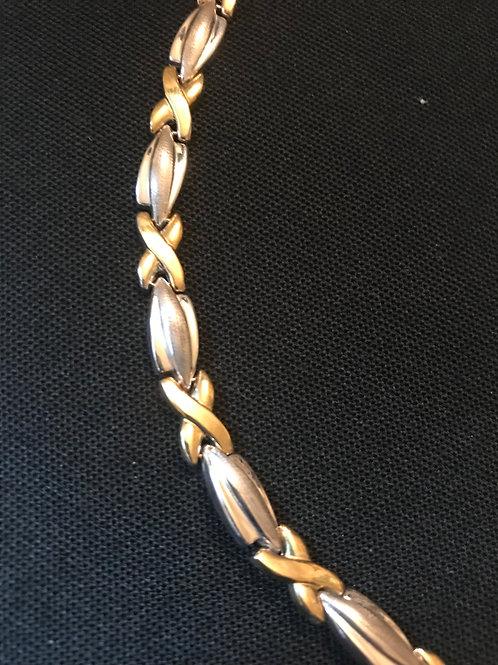 Sterling Silver and 14K Gold Necklace & Bracelet XO Set