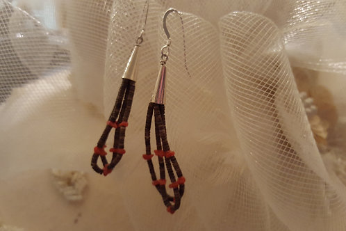 American Indian Coral Nugget and Heshie Earrings