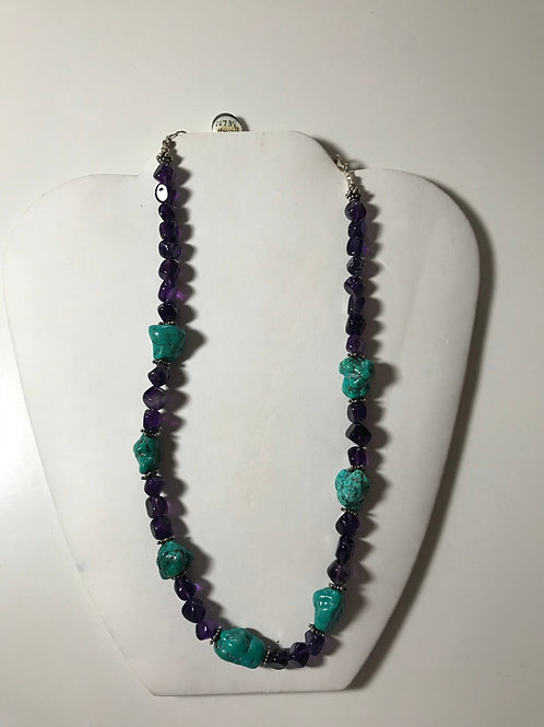 Turquoise Nugget , Purple Amethyst Necklace
