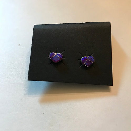 Purple Opal Inlay Heart-Shaped Earrings- Linda Chavez