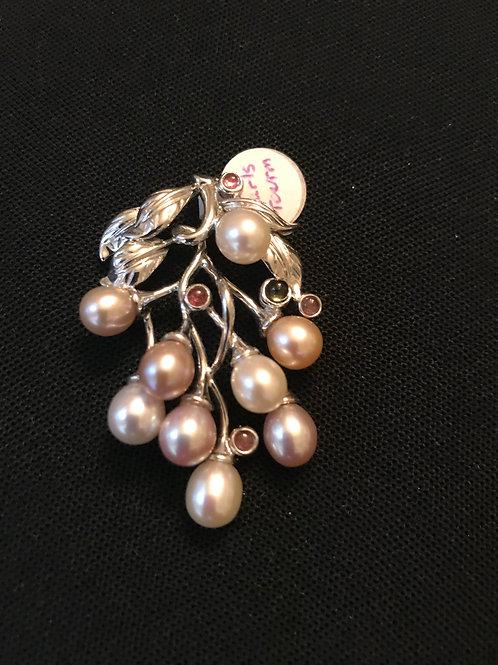 Pastel Pearls Tourmaline Grape Design Silver Pendant