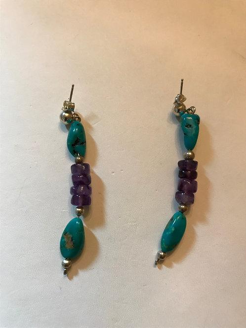 Turquoise & Amethyst Earrings