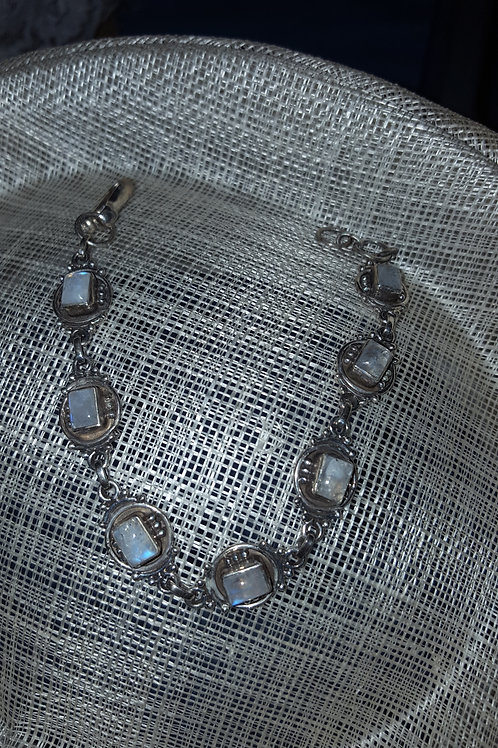 Moonstone Gemstone and Sterling Silver Adjustable Length Bracelet