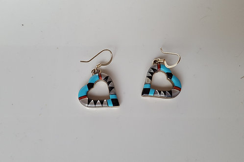 American Indian Zuni Heart Inlay Sterling Silver Earrings