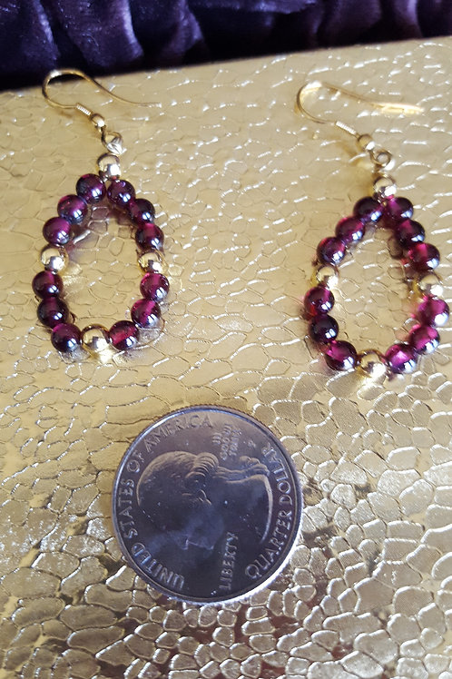 Garnet Bead and Gold Colored Earrings